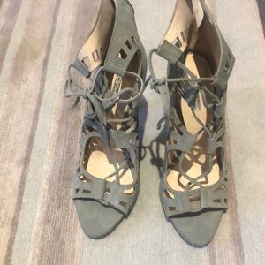 BCBG suede lace up heels